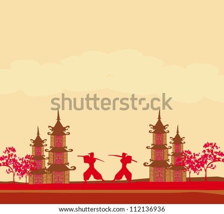 samurai silhouette in asian