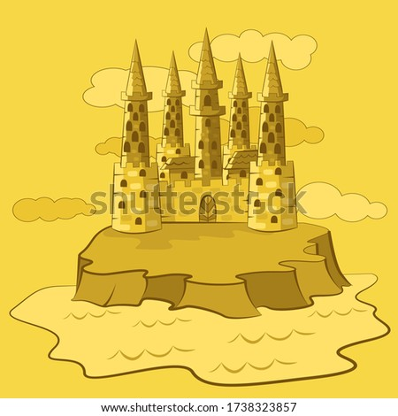 sand castle with five pointed