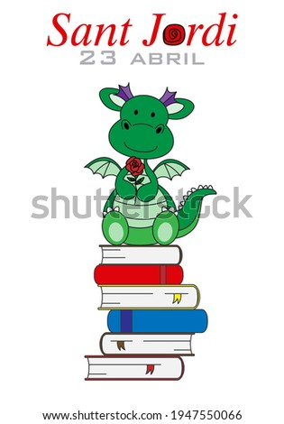 Sant Jordi traditional festival of Catalonia Spain. Dragon with a rose sitting on top of books. isolated vector Photo stock ©