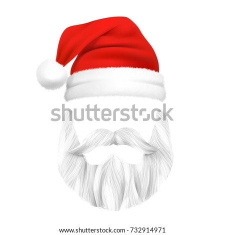 Santa Claus Christmas mask with beard and moustache isolated vector illustration