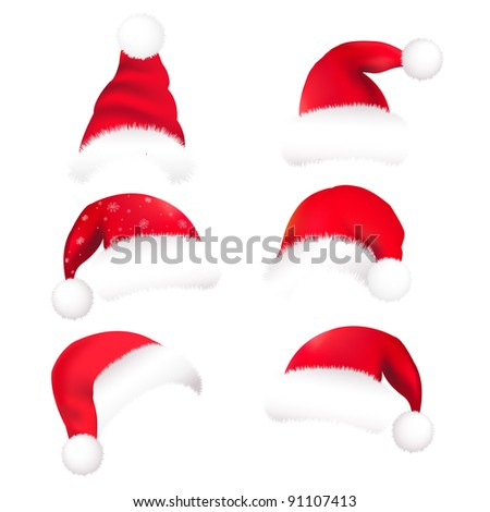 6 Santa's Hat, Isolated On White Background, Vector Illustration - stock vector