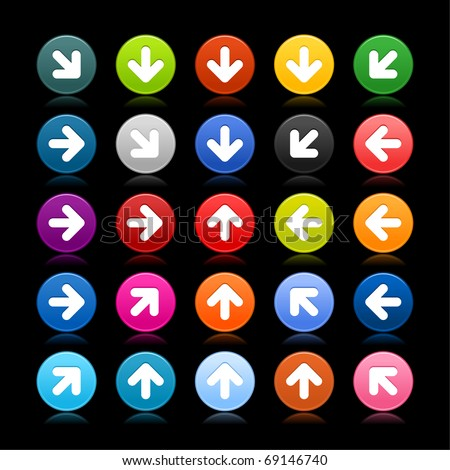 25 satined web 2.0 button with arrow icon. Colored round shape with reflection on black background