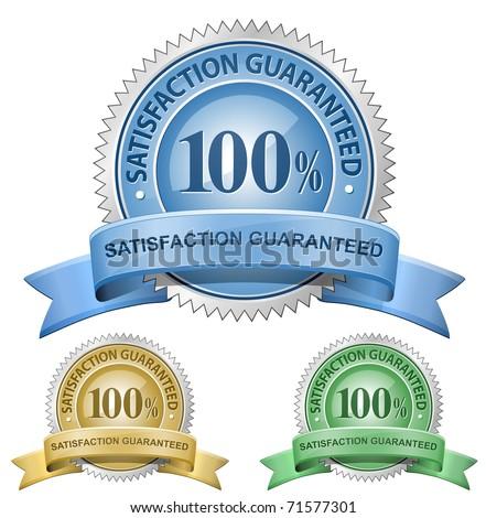 100% Satisfaction Guaranteed Signs. Vector