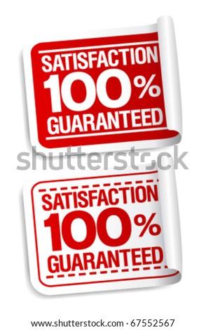 100% satisfaction guaranteed stickers set.