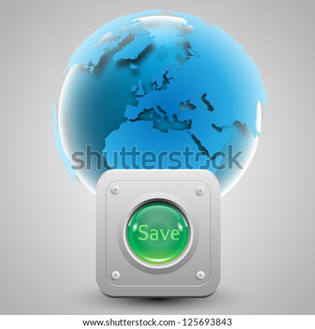 """Save the Earth"" button and the Earth vector"