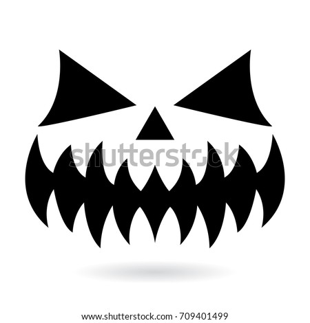 Scary Halloween pumpkin face vector design, ghost or monster mouth icon with spooky eyes, nose and big teeth Evil character for celebrating Halloween - black horror face on white background