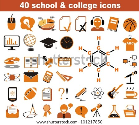 40 school and college icons black and orange