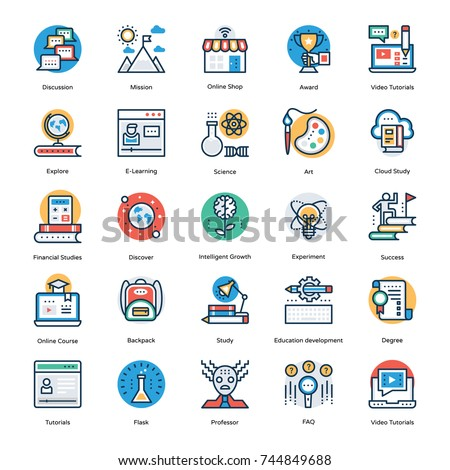 School and Education Flat Line Icons Set