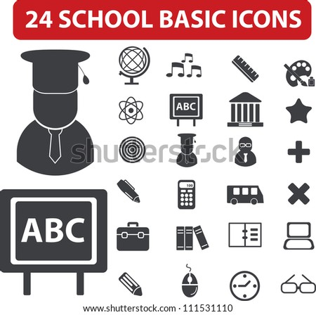 24 school basic icons set, vector