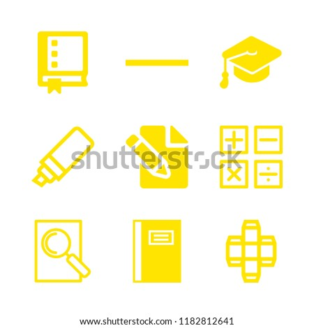 9 school icons with college research and substract in this set