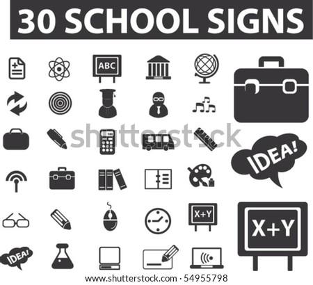 30 school signs. vector - stock vector