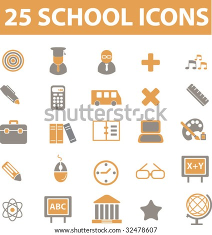 25 school sings. vector. - stock vector