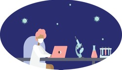 scientist writes down working with laptop, near test tubes and microscope, vector female character in flat style