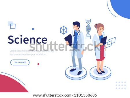 Scientists characters standing together. Science and technology concept. Can use for web banner, infographics, hero images. Flat isometric vector illustration.