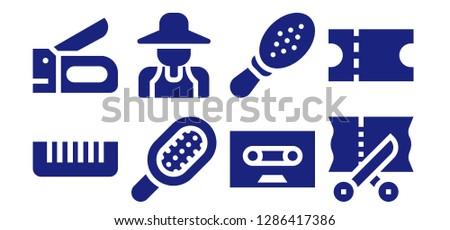 scissors icon set. 8 filled scissors icons. Simple modern icons about  - Comb, Stapler, Gardener, Tape, Scissors, Coupon