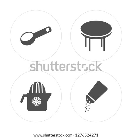 4 Scoop, Squeezer, Table, Salt shaker modern icons on round shapes, vector illustration, eps10, trendy icon set.