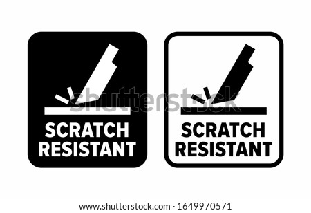 'Scratch resistant' proof to abrasion information sign Stock photo ©