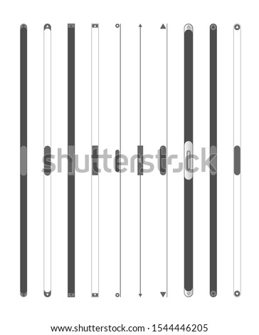 Scroll bars set. Vector web ui scroll elements. Scroll bars for web, phones and applications. Isolated vector illustration.