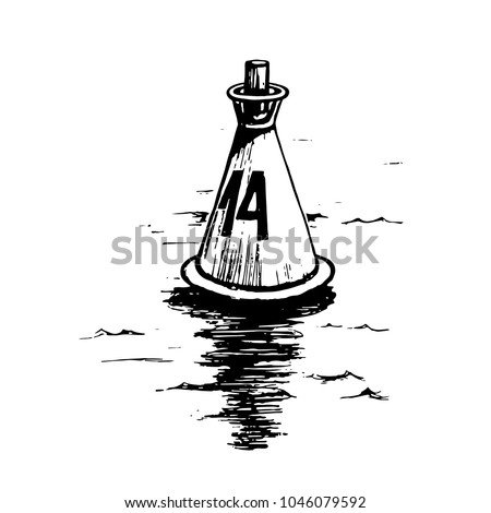 Sea buoy floating in the ocean. Naval buoy has navigational meteorological equipment. Vector sketch hand drawn isolated on white background.