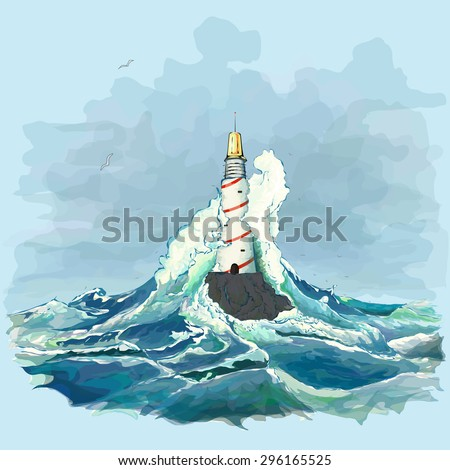 sea lighthouse storm sea