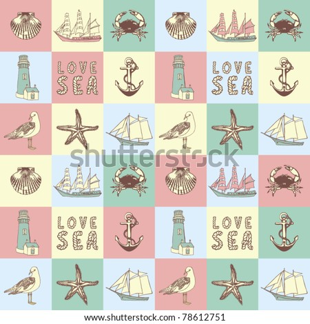 Sea love abstract vector illustration