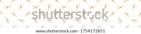 Seamless background dandelion seed banner. Gender neutral baby pattern. Simple whimsical minimal earthy 2 tone color. Kids nursery flower border or boho fashion tribbon trim Photo stock ©
