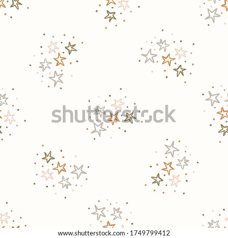 Seamless background gender neutral baby stars pattern. Simple whimsical minimal earthy 2 tone color. Kids nursery wallpaper or boho sleepwear fashion all over print.