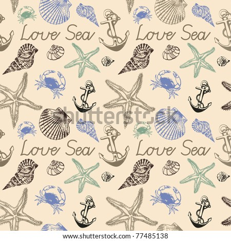 seamless background with Starfishes and Cockleshells