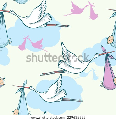Seamless background with storks carrying newborn babies