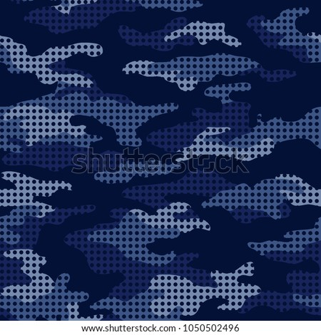 Seamless blue pattern camouflage of dots. Vector illustration