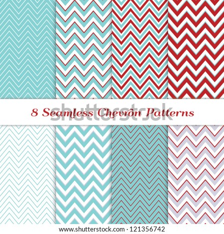 8 Seamless Chevron Patterns in Aqua Blue, Dark Red, White and Silver. Global colors - easy to change all patterns. Nice background for Scrapbook or Photo Collage. Modern Christmas Backgrounds.