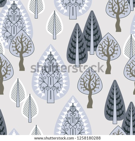 Seamless decorative pattern with the image of a winter forest for your projects