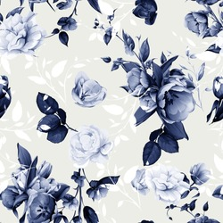 Seamless floral background pattern. Flowers tulips with peony, leaves and gladiolus. Hand drawn white and blue illustration on pastel. Vector - stock.