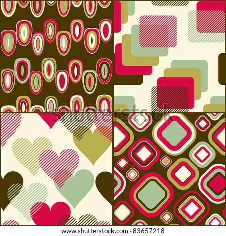 Seamless geometric pattern  set for fabric and furniture. Beautiful wallpaper (vector)