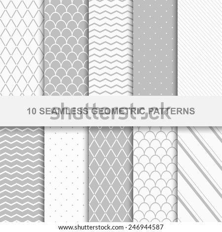 10 Seamless geometric patterns. Grey and white texture