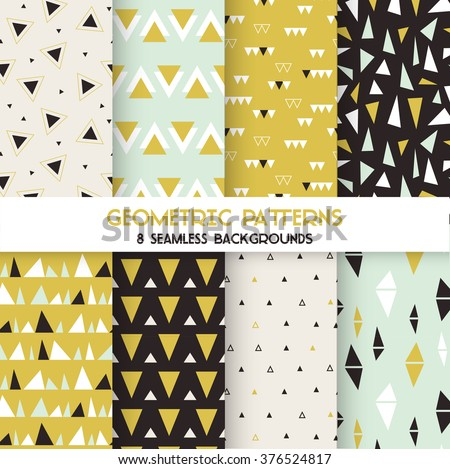 8 Seamless Geometric Triangles Patterns - Texture for wallpaper, background, textile, scrapbook - in vector
