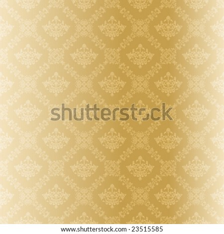 Seamless gold damask pattern (vector); a JPG version is also available