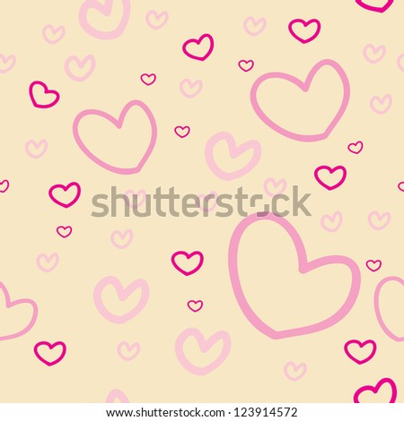 Seamless hearts pattern retro color  tone