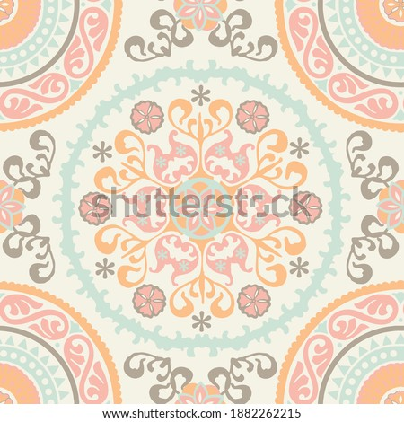 Seamless medallion Vintage multi color pattern in Indian, Turkish style. Endless pattern can be used for ceramic tile, wallpaper, linoleum, textile, web page background. Vector