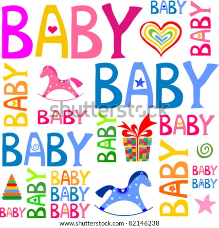 Seamless new born baby wrapping paper pattern in vector. Baby greeting card