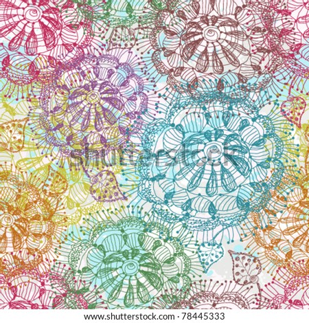 Seamless of abstract hand drawn color flowers