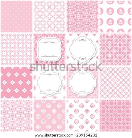Seamless pattern big set in pastel pink. Frames.