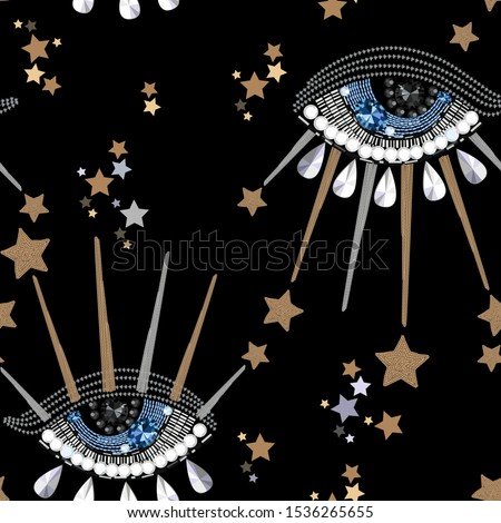 Seamless pattern of fantastic eyes. Imitation of embroidery.