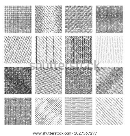 16 Seamless pattern of ink hand drawn linear hatching and crosshatching textures. vector illustration Stockfoto ©