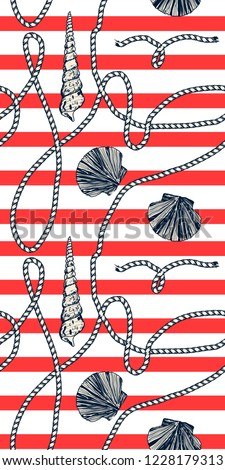 Seamless pattern of seashells with Marine rope on red striped background.Decorative sea seamless with stripes. Hand drawing. For fabric design, gift wrapping paper and printing and web projects