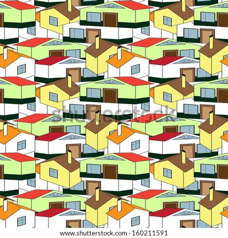 seamless pattern town, village