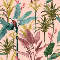 Seamless pattern with banana leaves and flowers.