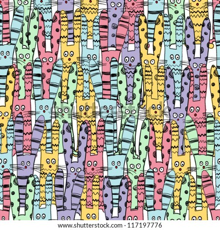 seamless pattern with cartoon rabbits. vector illustration