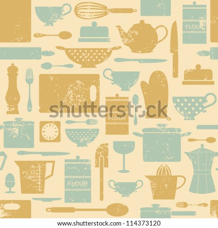 Seamless pattern with kitchen items in vintage style.