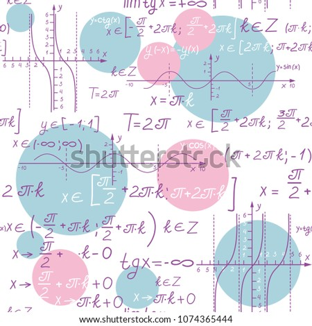 Seamless Pattern with with formulas and graphs of trigonometric functions on a chalkboard. Vector illustration
